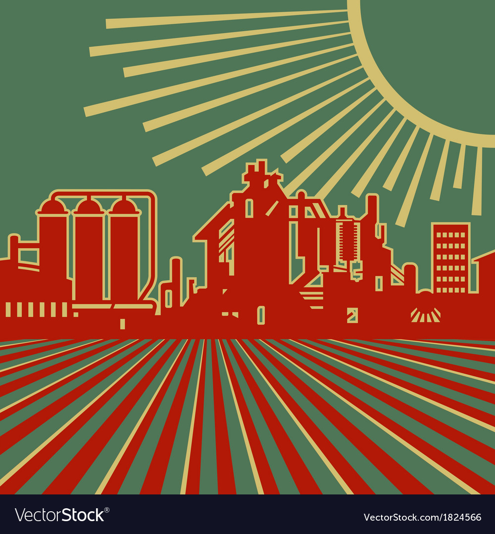 Heyday of heavy industry retro vector | Price: 1 Credit (USD $1)
