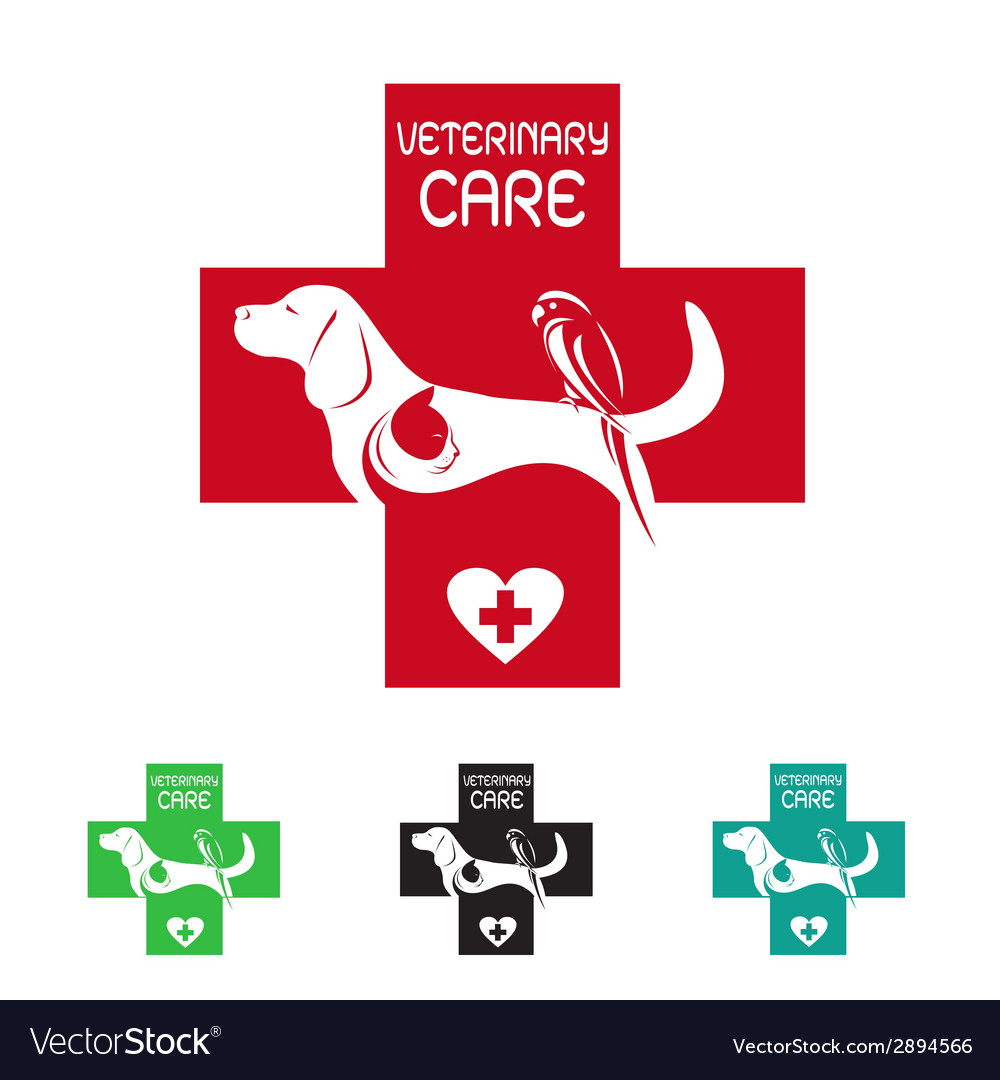 Image of veterinary symbol with dog cat and bird vector | Price: 1 Credit (USD $1)