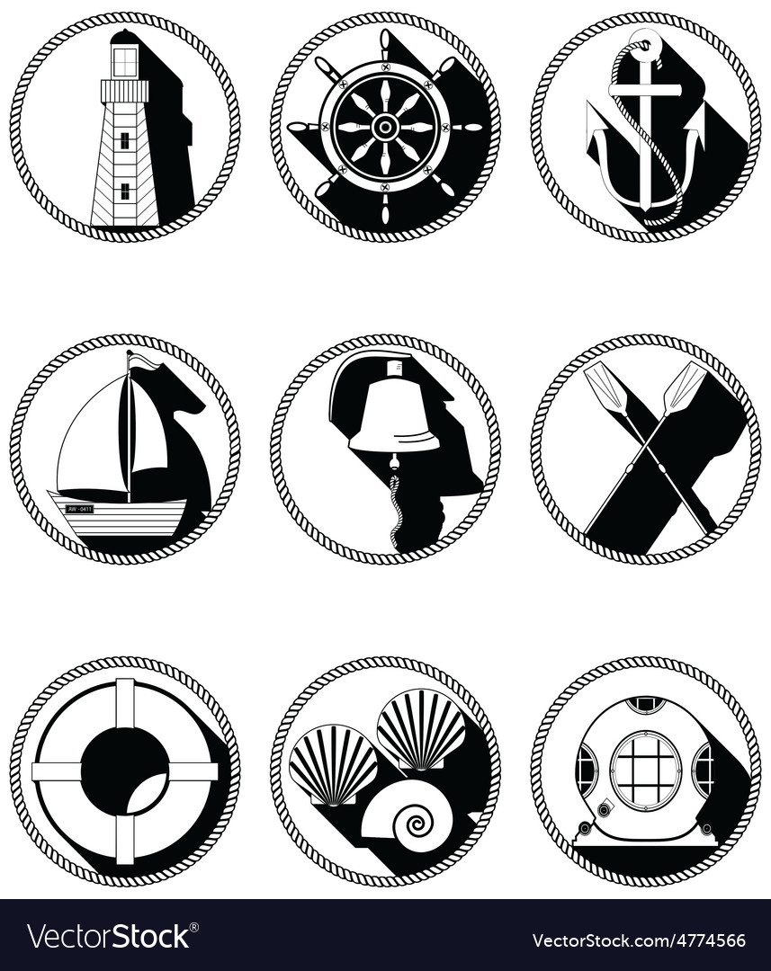 Nautical elements i icons in knotted circle in vector   Price: 1 Credit (USD $1)