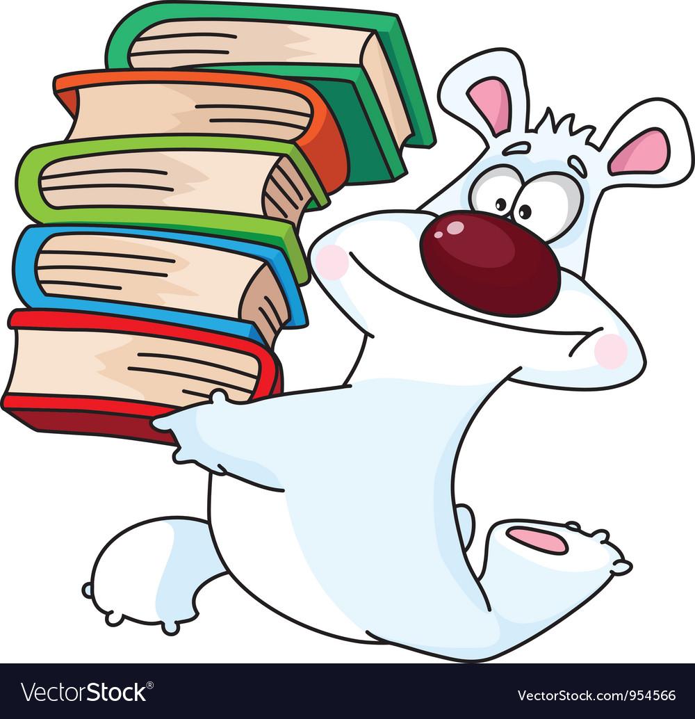 Polar bear and books vector | Price: 1 Credit (USD $1)
