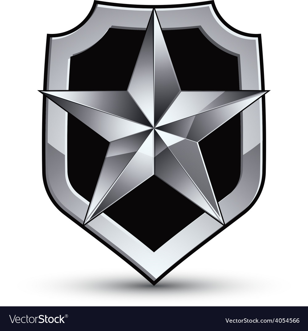 Sophisticated blazon with a silver star emblem vector | Price: 1 Credit (USD $1)