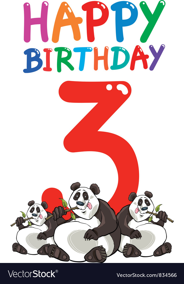 Third birthday anniversary card vector | Price: 3 Credit (USD $3)