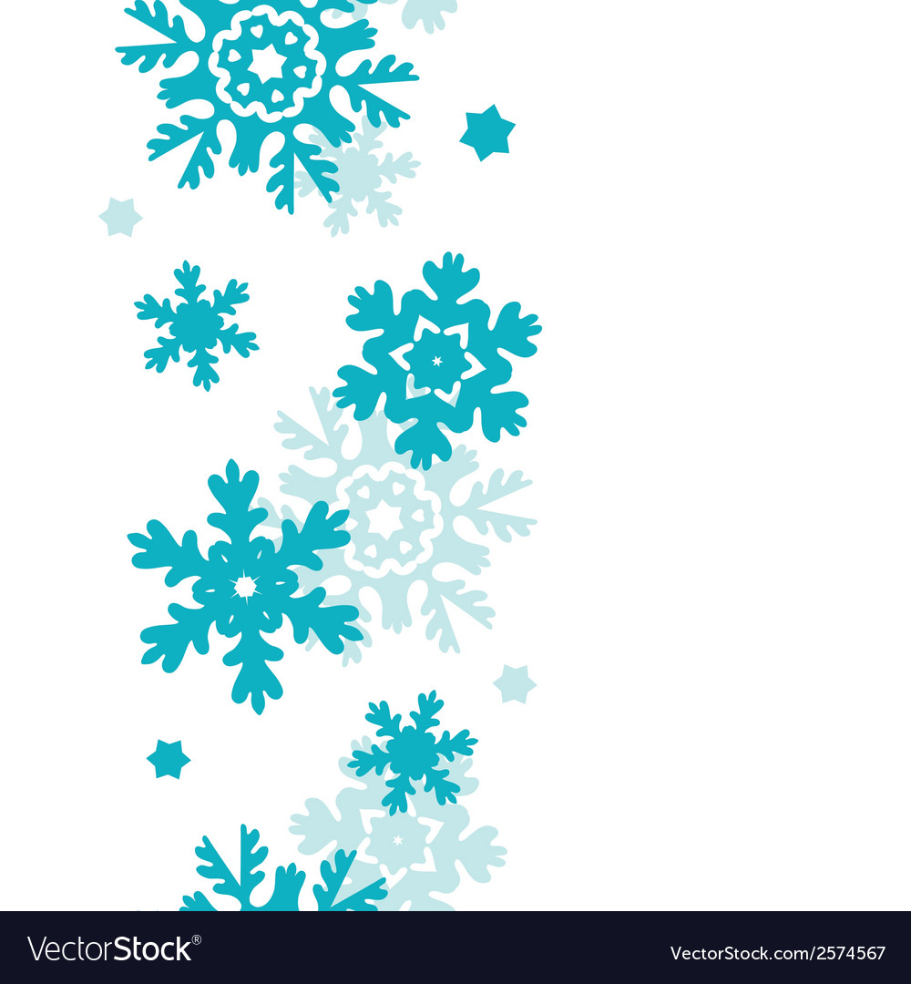 Blue frost snowflakes vertical seamless pattern vector | Price: 1 Credit (USD $1)