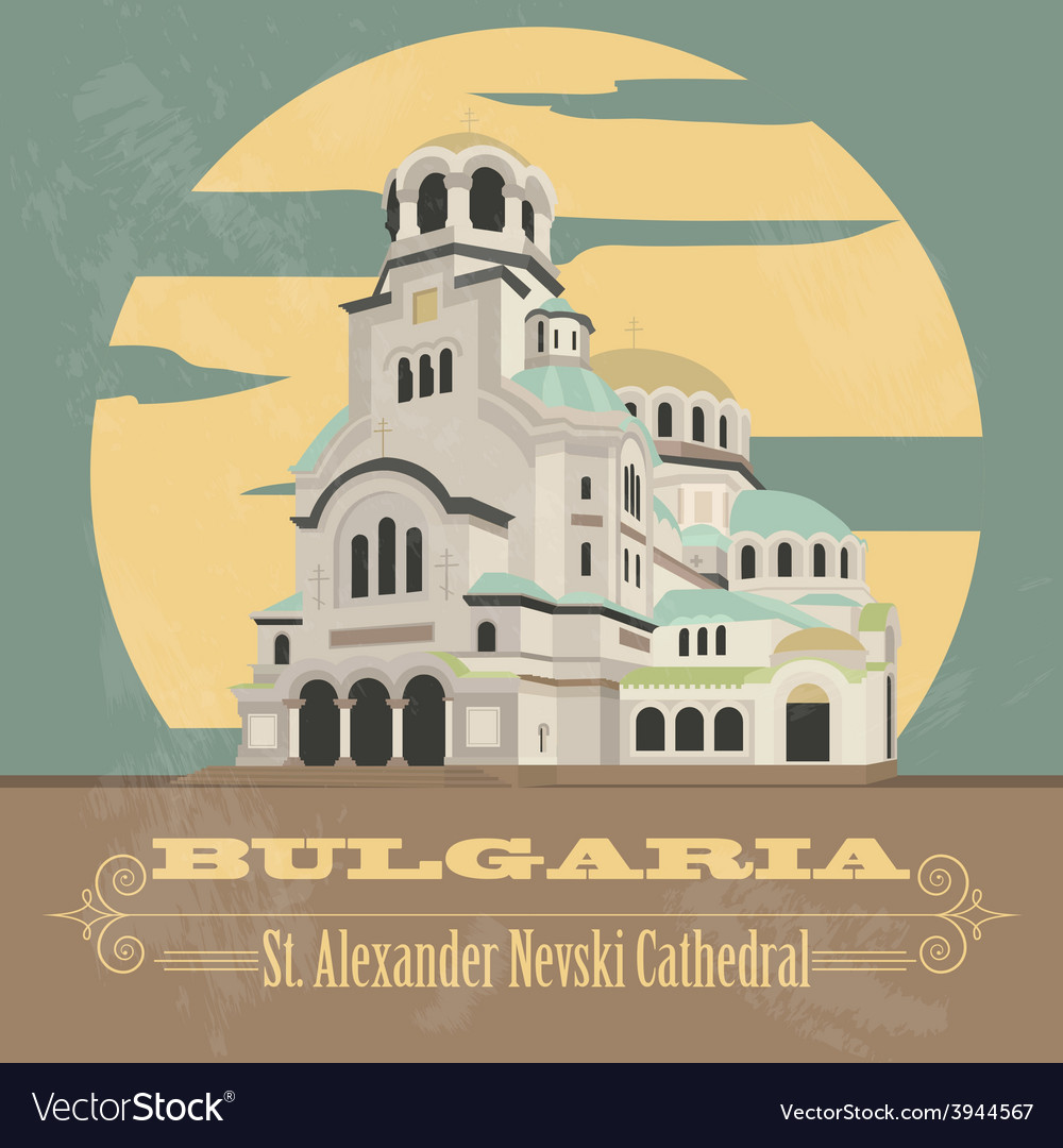 Bulgaria landmarks retro styled image vector | Price: 1 Credit (USD $1)
