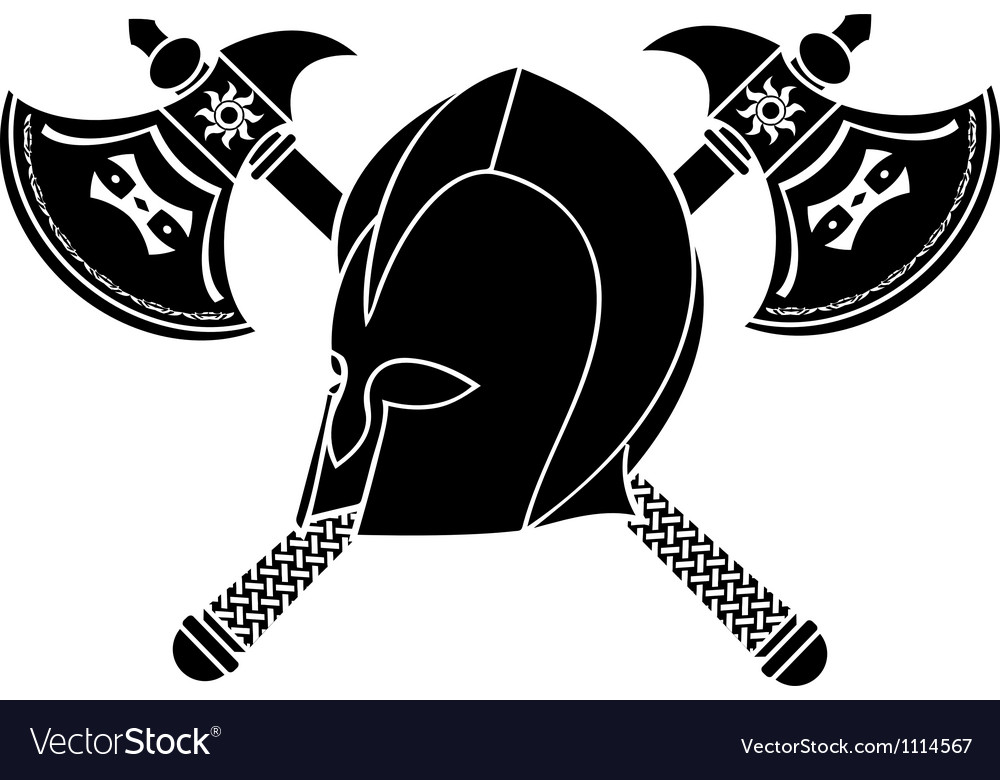 Fantasy helmet with axes stencil second variant vector | Price: 1 Credit (USD $1)