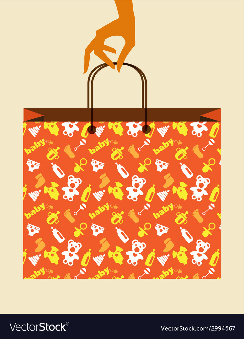 Hand holding baby shopping bag with toy and cloth vector | Price: 1 Credit (USD $1)
