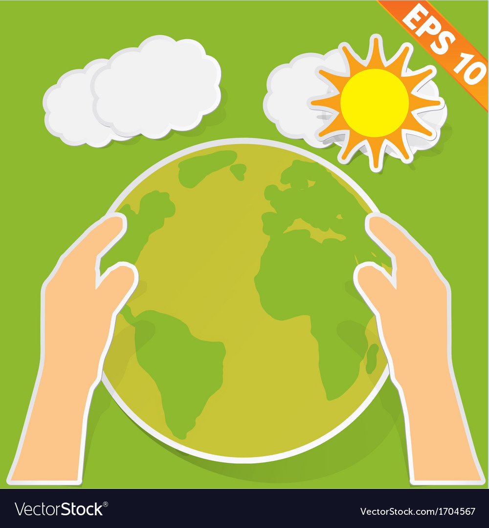 Hand holding earth with green ecology - - ep vector | Price: 1 Credit (USD $1)