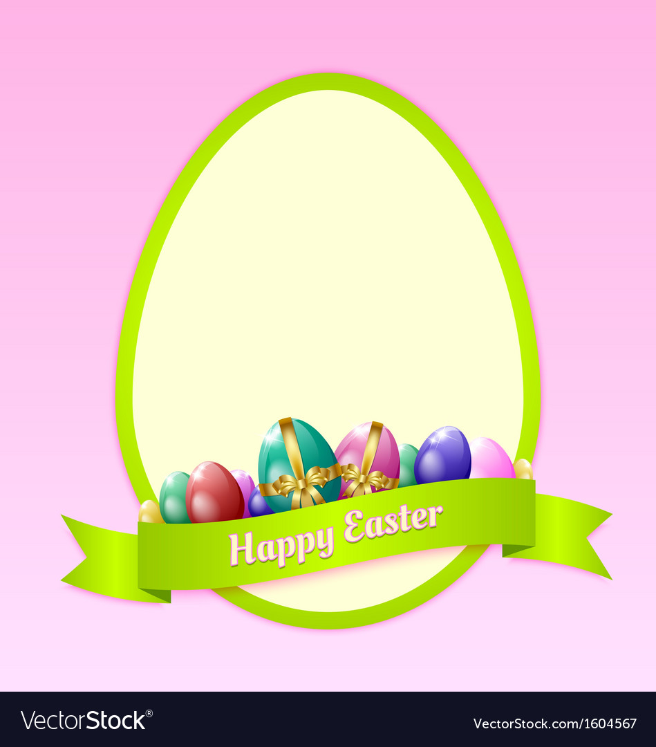 Happy easter greeting card template vector | Price: 1 Credit (USD $1)