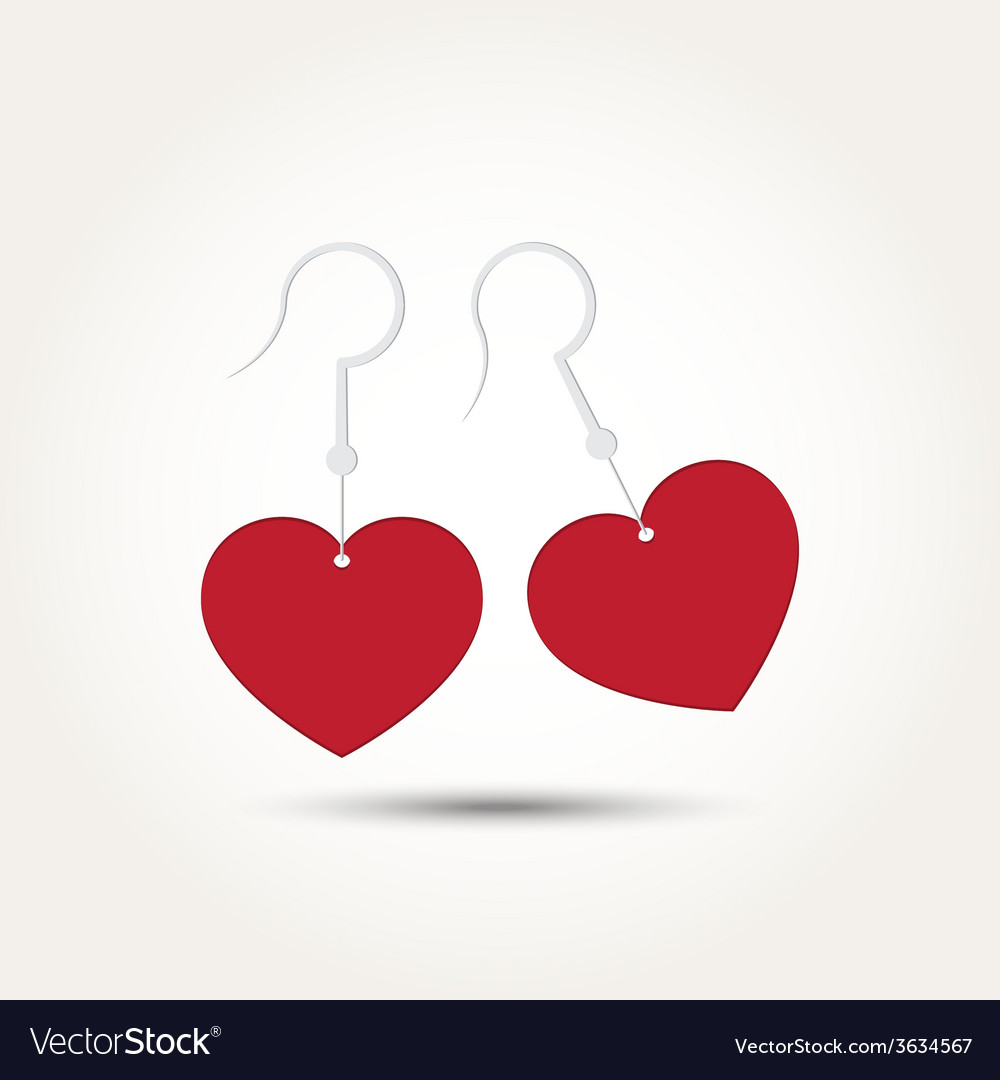 Love heart couple earring vector | Price: 1 Credit (USD $1)