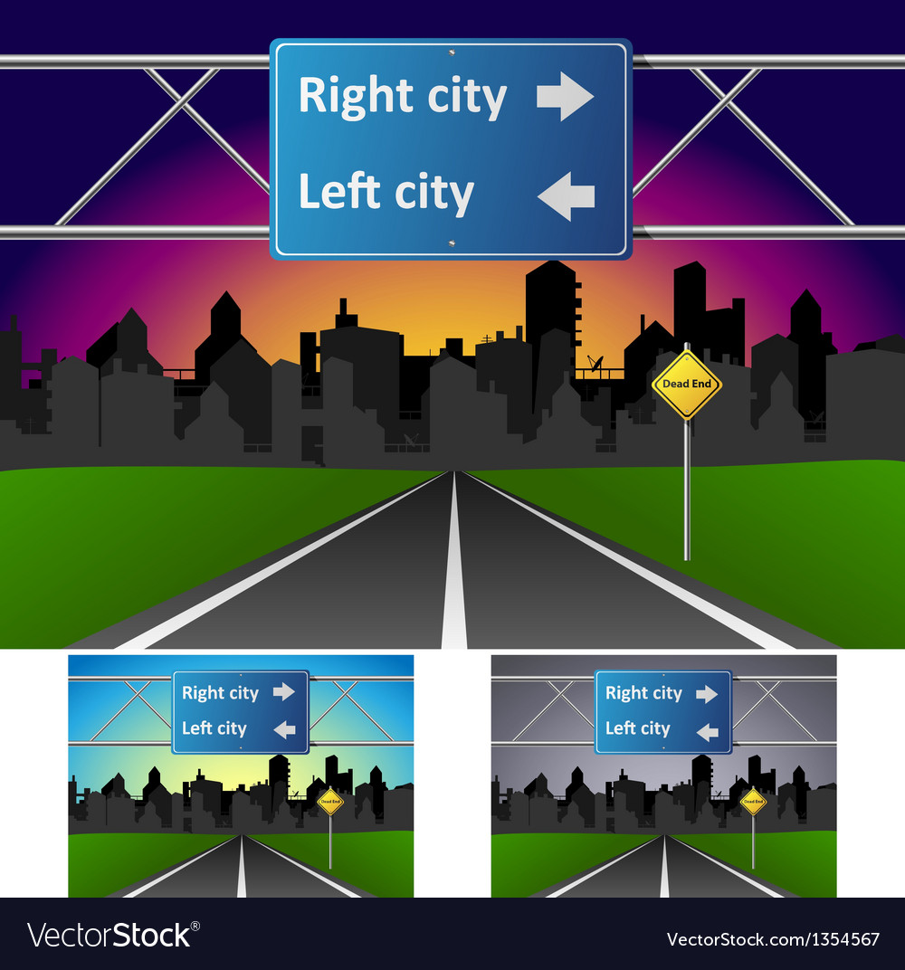 Road heading to town vector | Price: 1 Credit (USD $1)