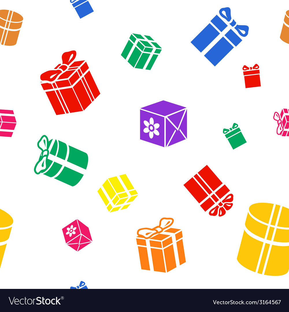 Seamless gift pattern colored gift boxes on white vector | Price: 1 Credit (USD $1)