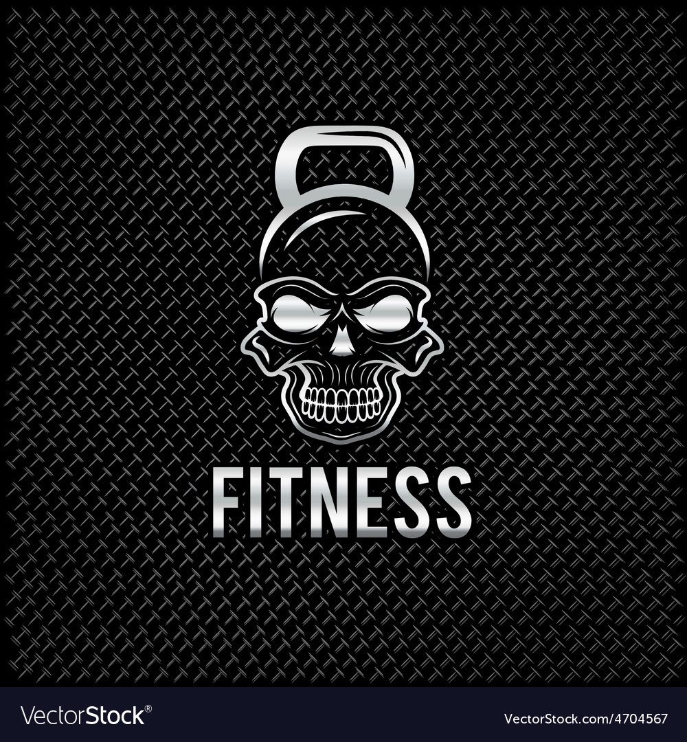Silver skull in the form of kettlebell fitness vector | Price: 1 Credit (USD $1)