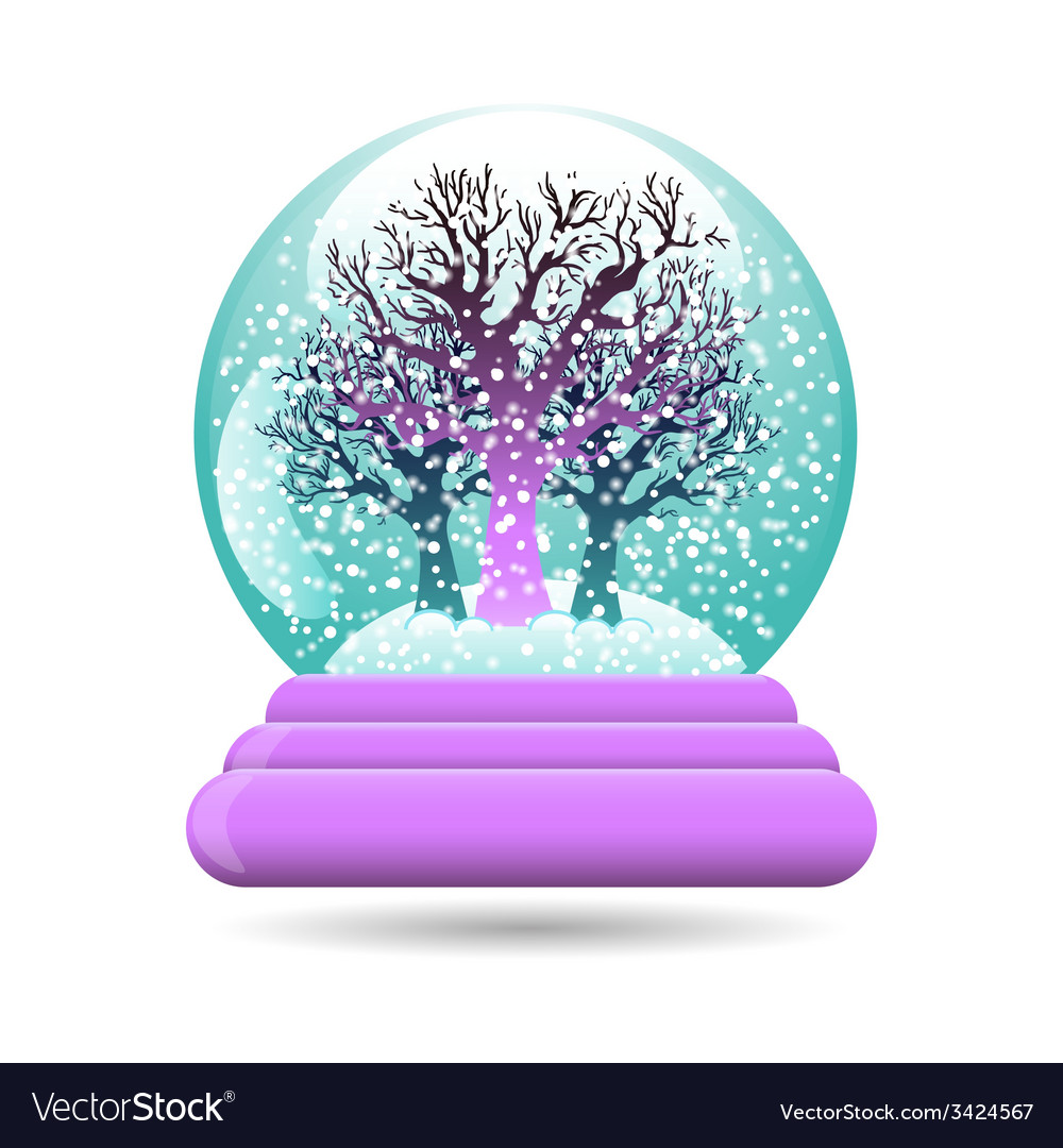 Snow globe with a tree vector | Price: 1 Credit (USD $1)