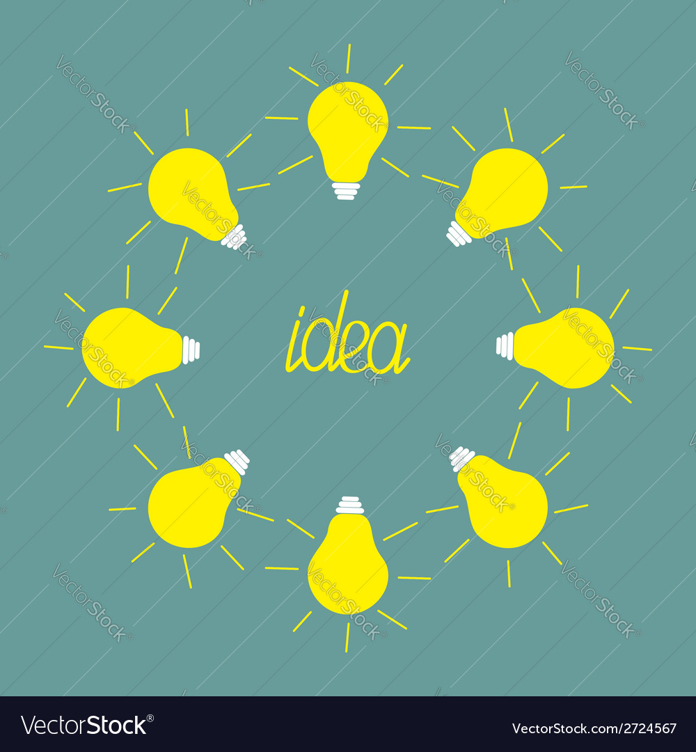 Yellow light bulb round frame idea concept flat de vector | Price: 1 Credit (USD $1)