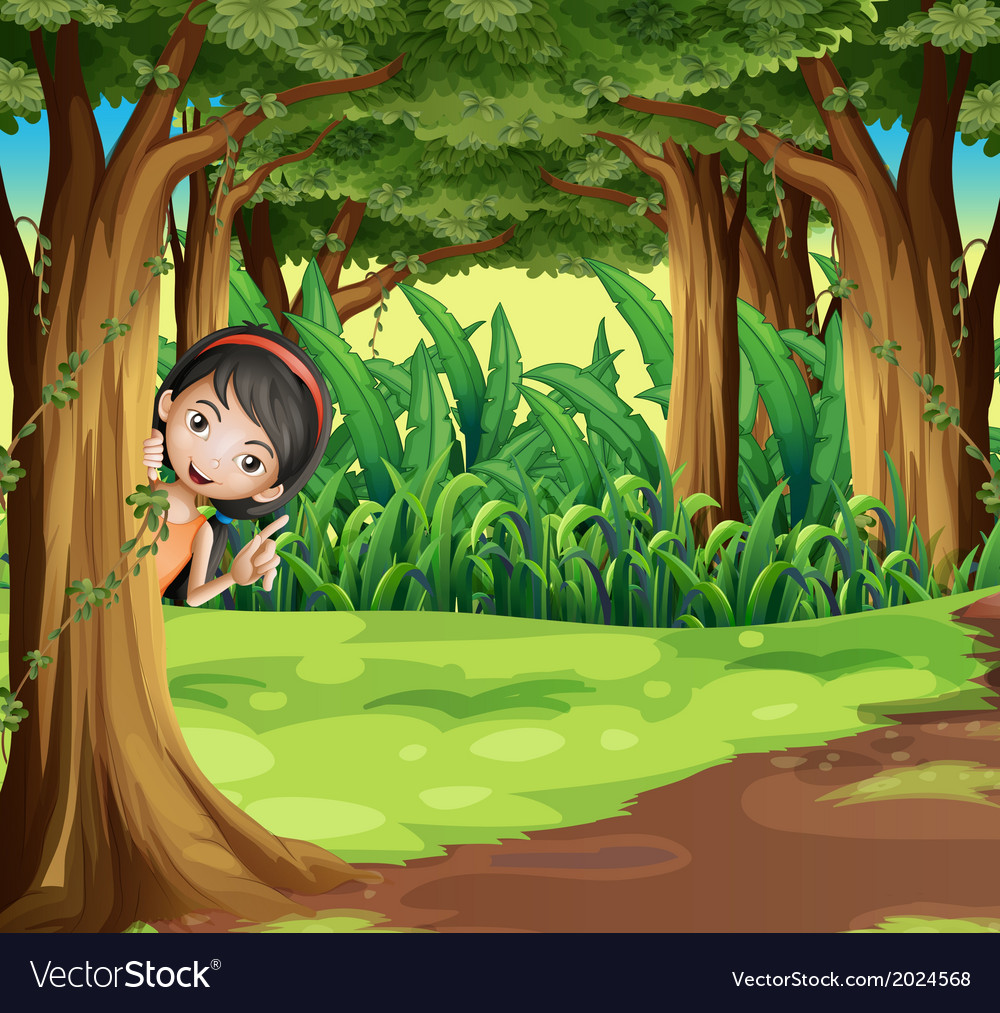 A young girl hiding at the forest vector | Price: 3 Credit (USD $3)