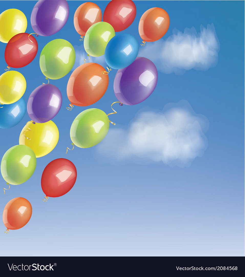 Baloons in a blue sky with clouds vector | Price: 1 Credit (USD $1)