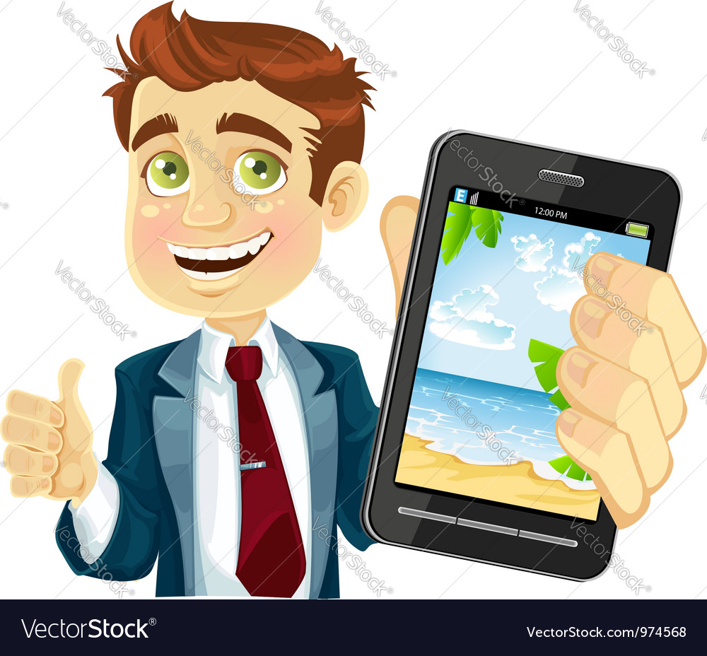 Businessman shows a photo resort on the phone vector | Price: 3 Credit (USD $3)