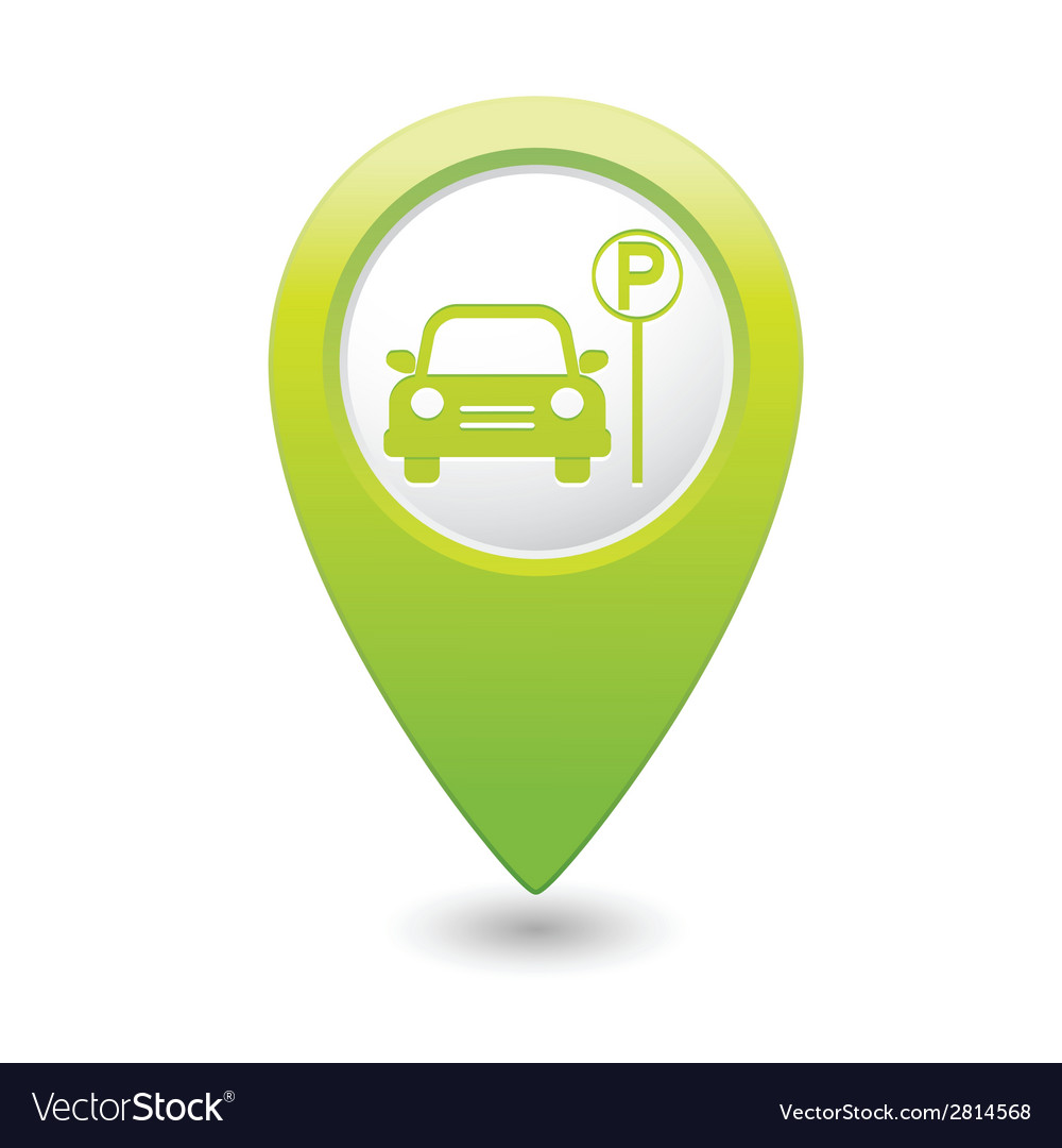 Car parking place icon on pointer vector | Price: 1 Credit (USD $1)