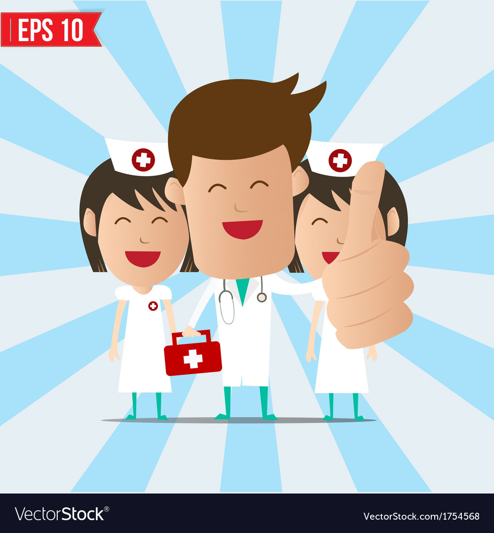 Cartoon doctor and nurse smile and show thumb up - vector | Price: 1 Credit (USD $1)