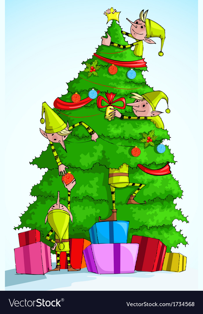 Elf decorating christmas tree vector | Price: 1 Credit (USD $1)
