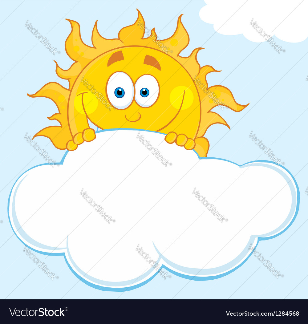 Happy sun hiding behind cloud vector | Price: 1 Credit (USD $1)