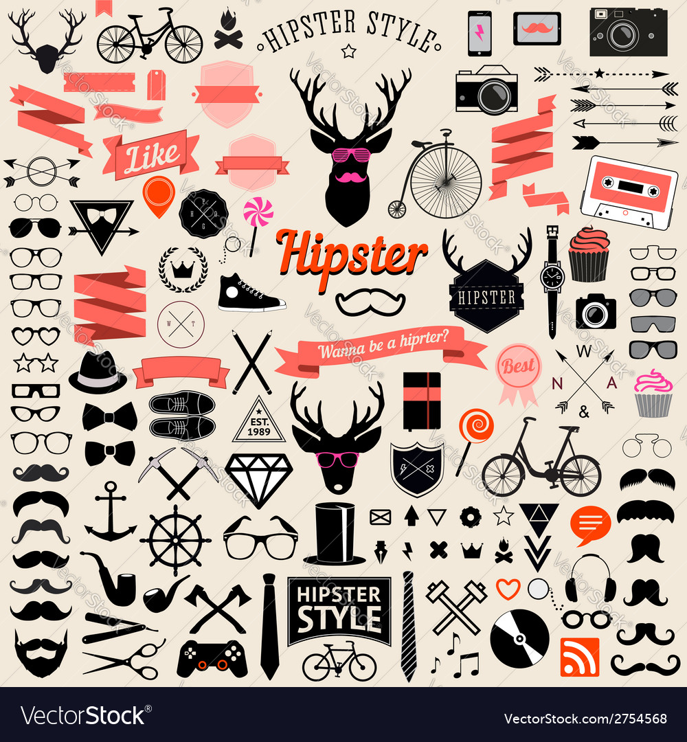 Huge set of vintage styled design hipster icons vector | Price: 1 Credit (USD $1)