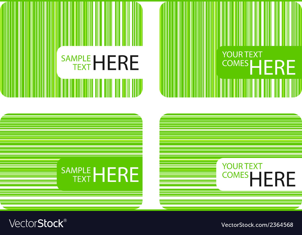 Modern business cards with green stripes vector | Price: 1 Credit (USD $1)