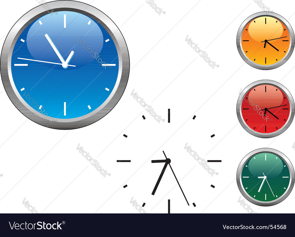 Office clocks in different colors vector | Price: 1 Credit (USD $1)
