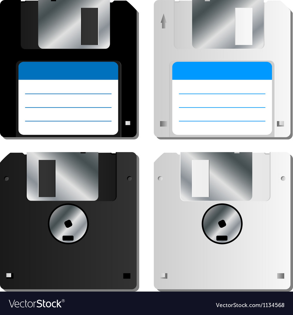 Realistic floppy disk set vector | Price: 1 Credit (USD $1)