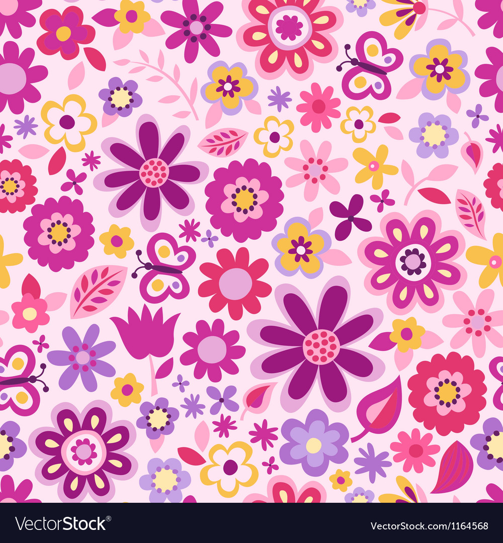 Seamless flower colour pattern vector | Price: 1 Credit (USD $1)