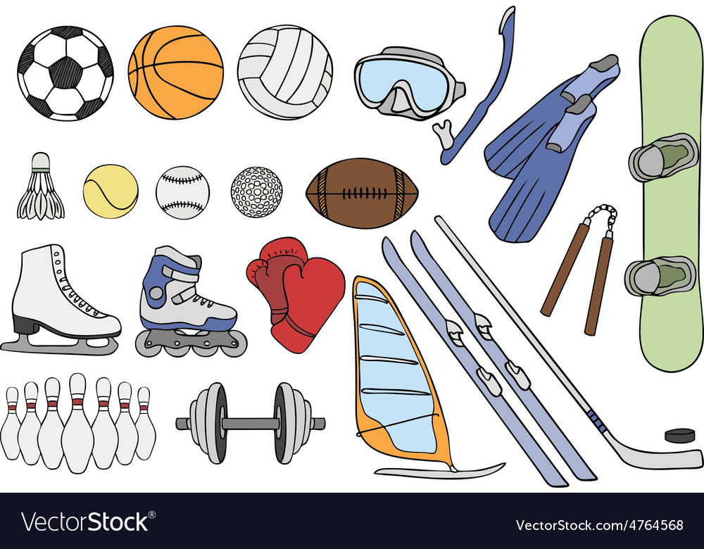Sport items set vector | Price: 1 Credit (USD $1)