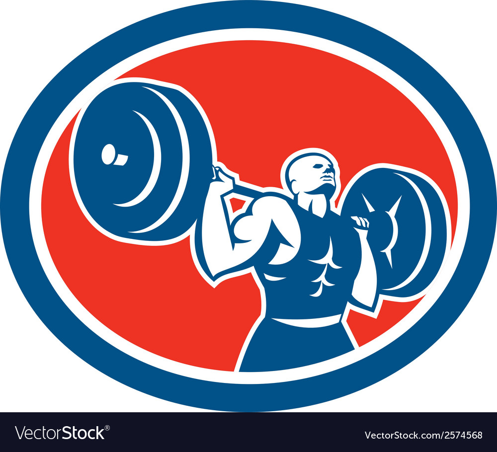 Weightlifter lifting barbell circle retro vector | Price: 1 Credit (USD $1)