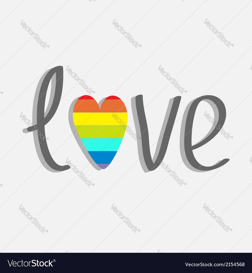 Word love with rainbow heart flat design vector | Price: 1 Credit (USD $1)