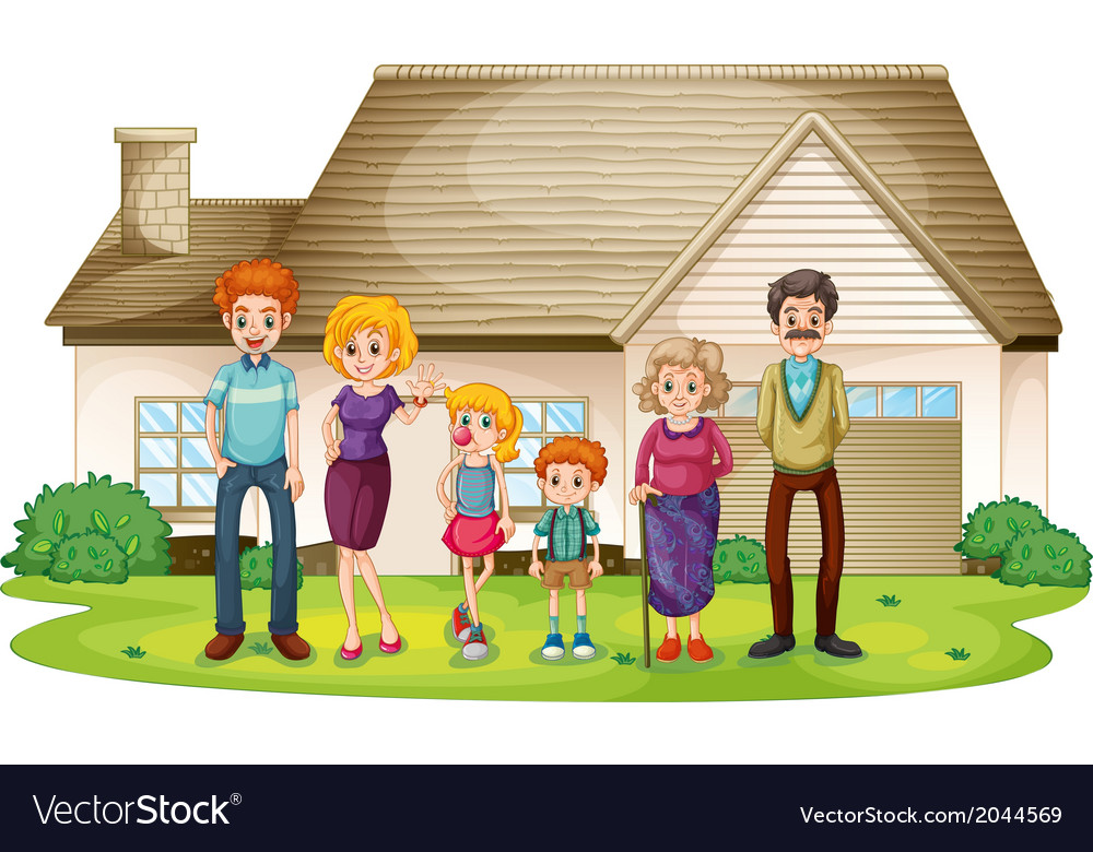 A family outside their big house vector | Price: 3 Credit (USD $3)