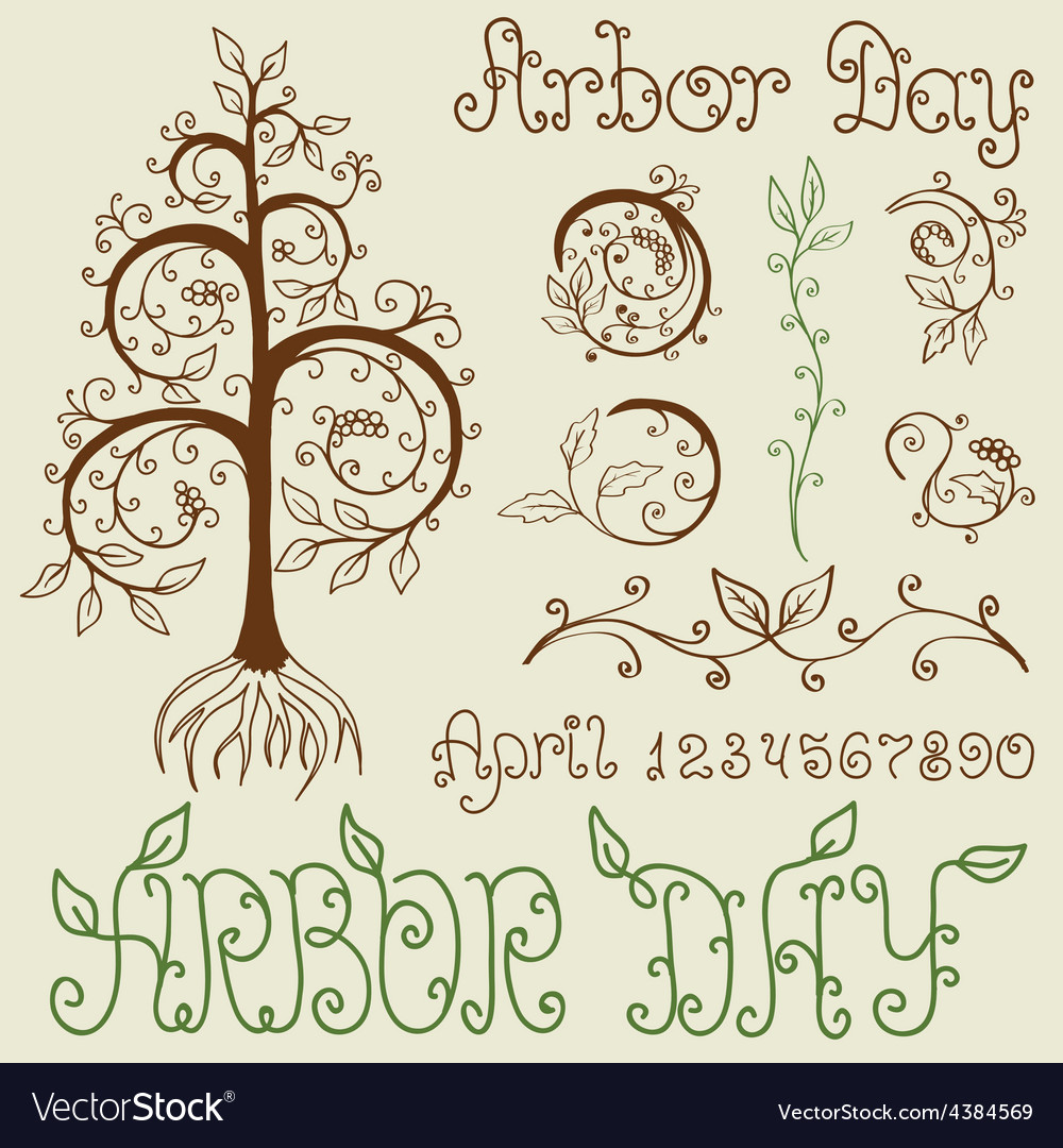 Arbor day set of hand drawn design elements vector | Price: 1 Credit (USD $1)