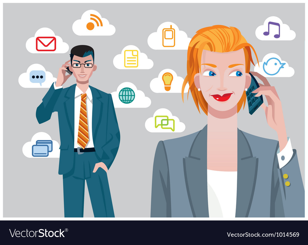 Caucasian businesswoman and businessman talking on vector | Price: 3 Credit (USD $3)