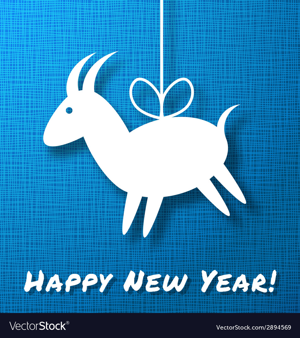 Goat on bright blue canvas background vector | Price: 1 Credit (USD $1)
