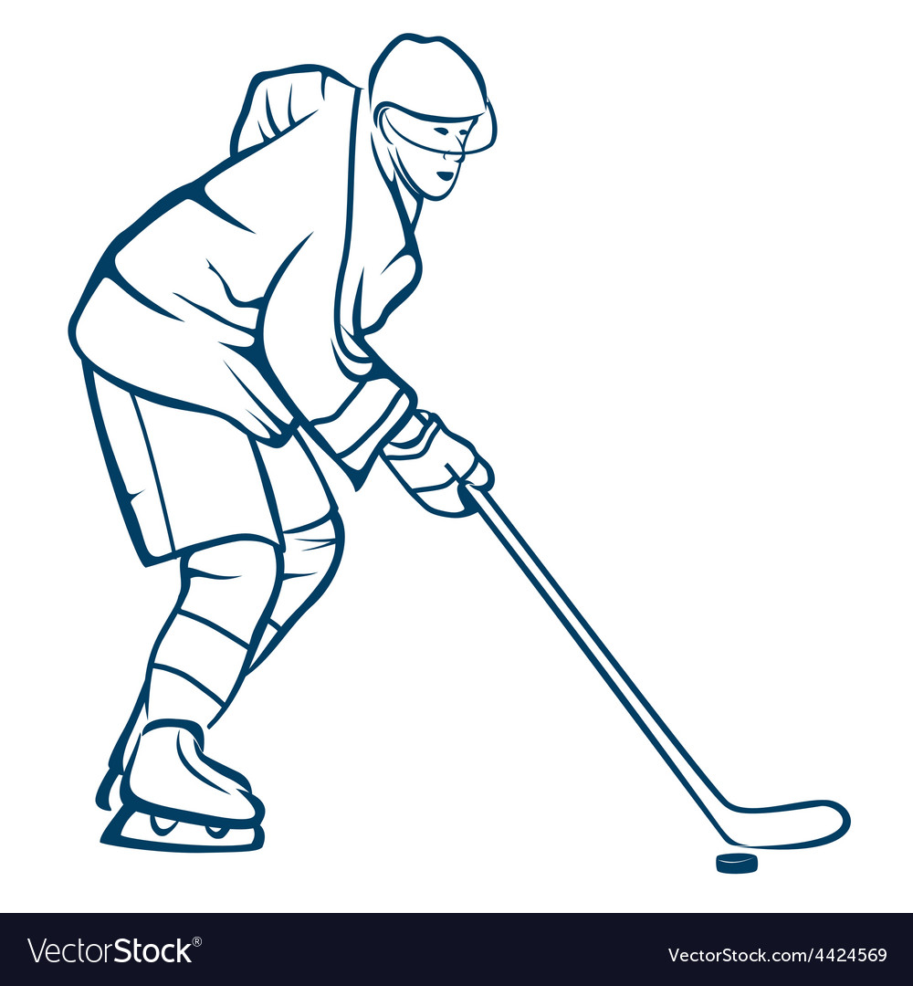 Hockey player in action vector | Price: 1 Credit (USD $1)