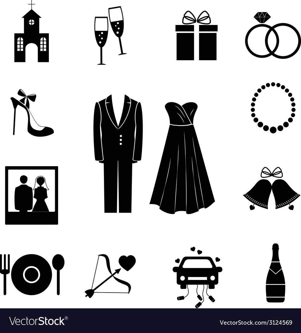 Set of black silhouette wedding icons vector | Price: 1 Credit (USD $1)
