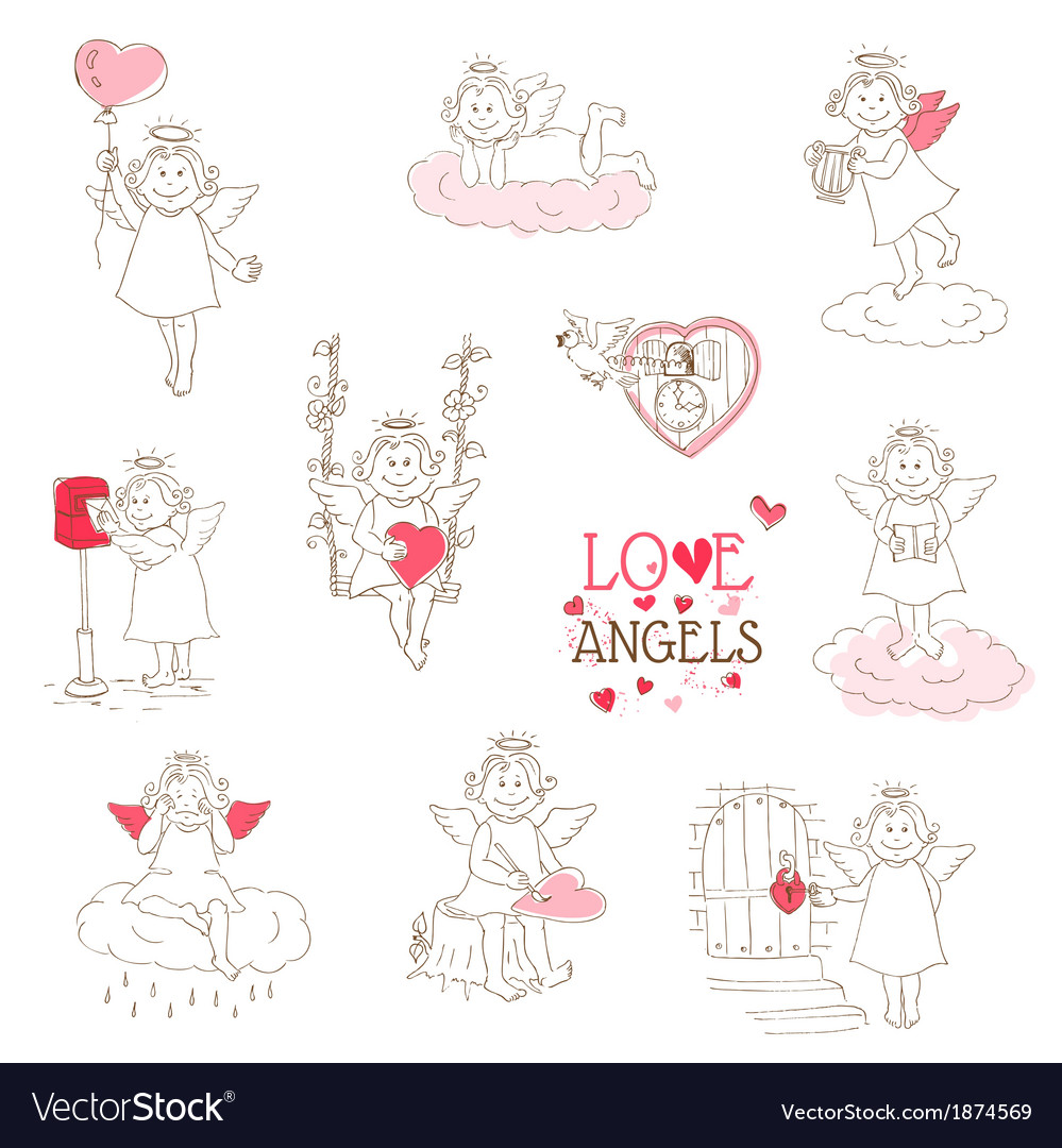 Set of cute angels and cupids - love wedding valen vector | Price: 1 Credit (USD $1)