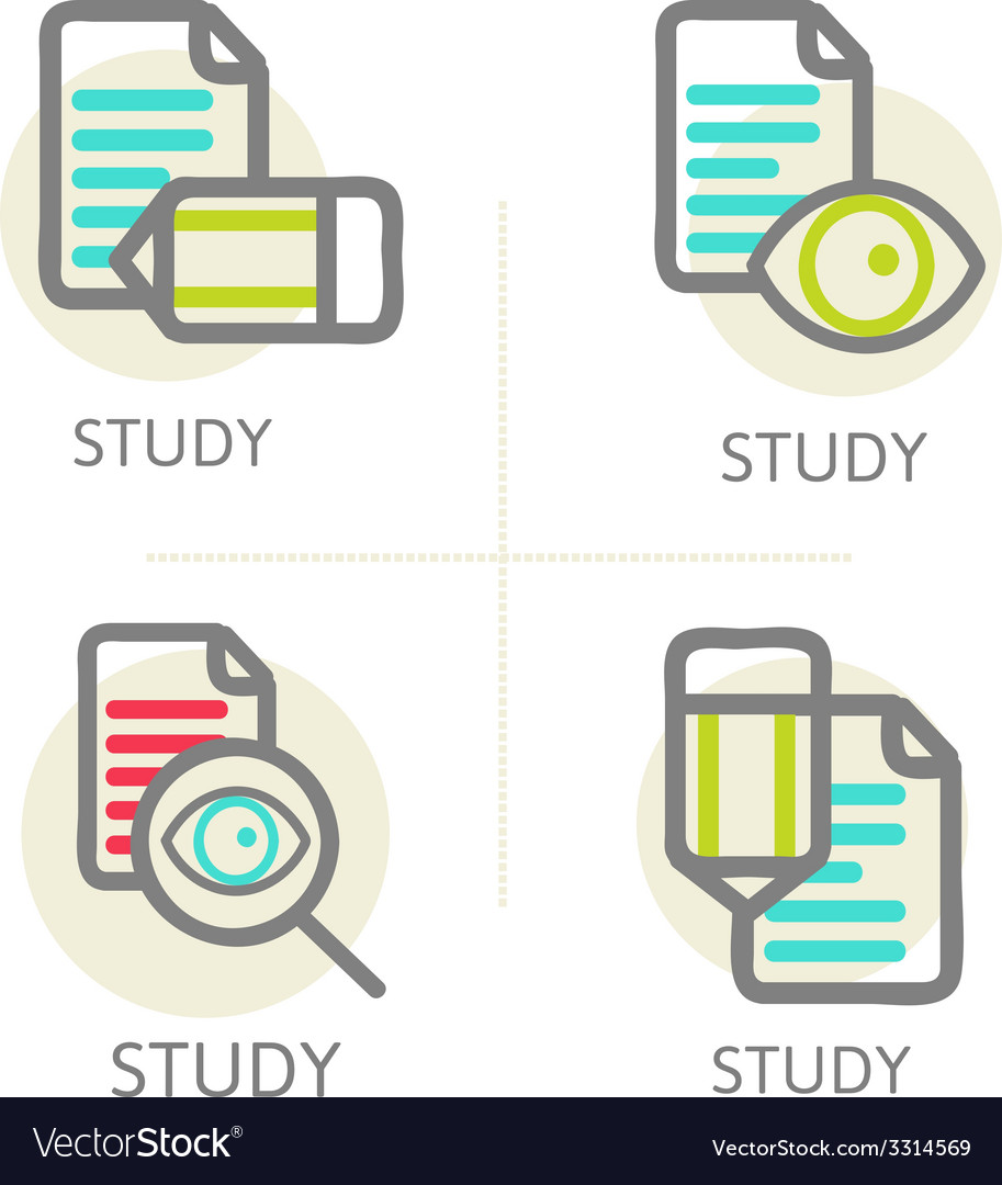 Set of line design concept icons education vector | Price: 1 Credit (USD $1)