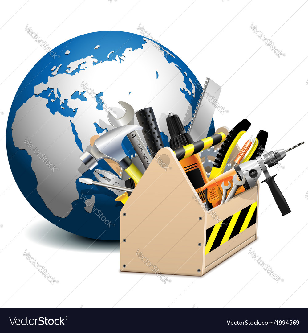 Toolbox with globe vector | Price: 3 Credit (USD $3)