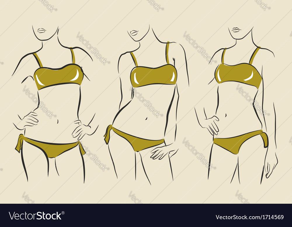 Woman in bikini vector | Price: 1 Credit (USD $1)