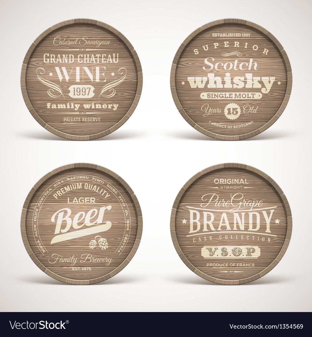 Wooden casks with alcohol drinks emblems vector