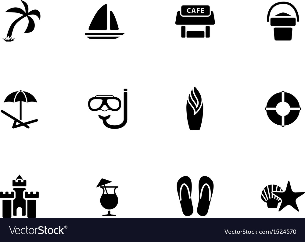 Beach icons on white background vector | Price: 1 Credit (USD $1)