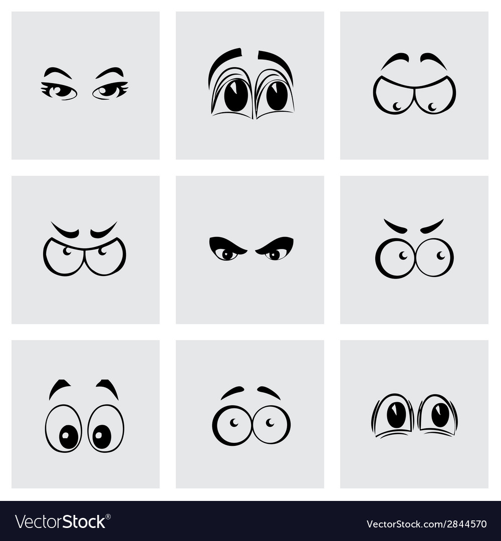 Black cartoon eyes icons set vector | Price: 1 Credit (USD $1)