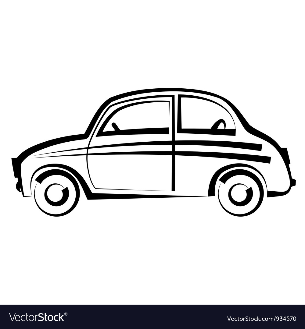Car freehand drawing icon black and white vector | Price: 1 Credit (USD $1)
