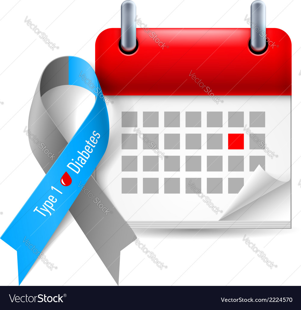 Diabetes awareness ribbon and calendar vector | Price: 1 Credit (USD $1)