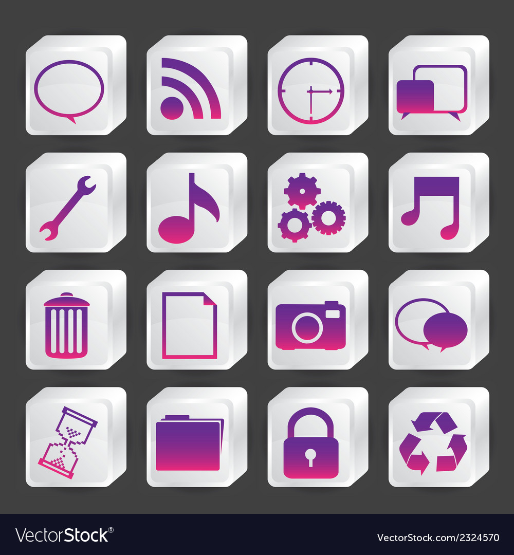 Icons in boxes of white vector | Price: 1 Credit (USD $1)