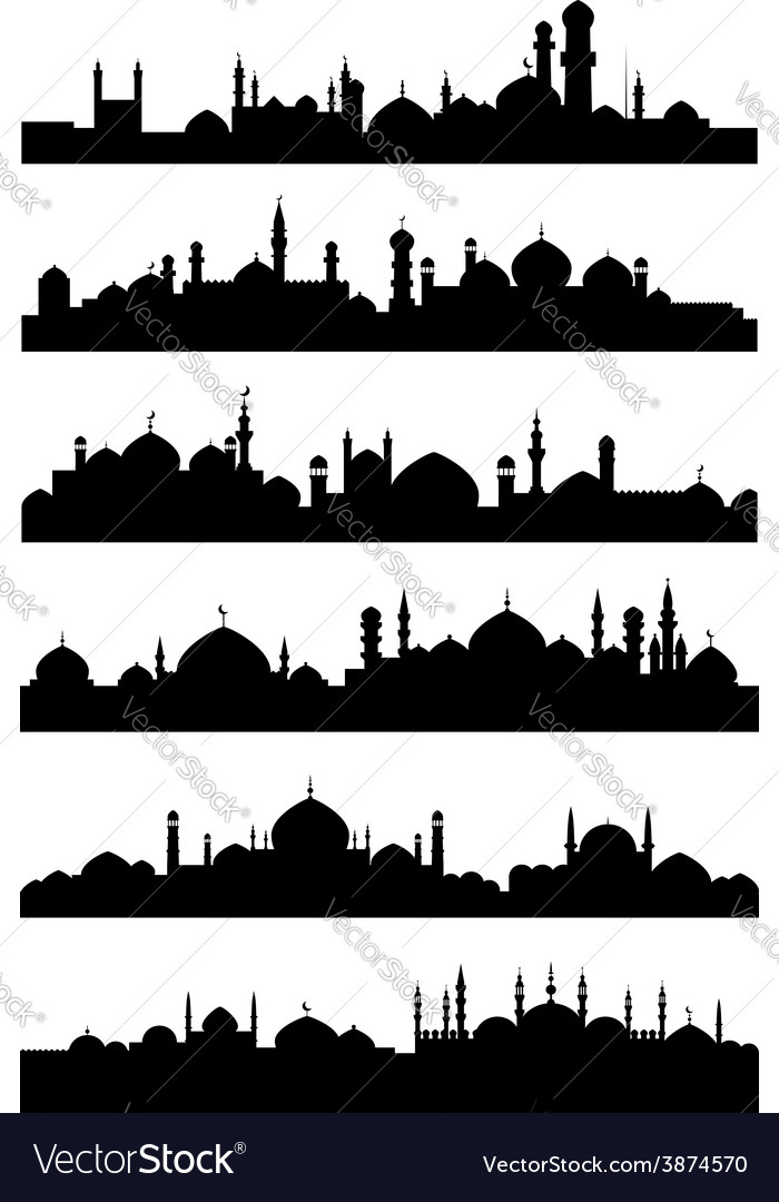 Islamic or arabic cityscape black silhouettes vector | Price: 1 Credit (USD $1)